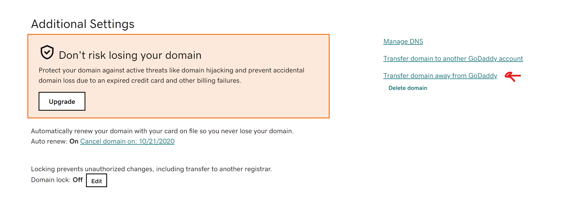 GoDaddy get Transfer Authorization Code