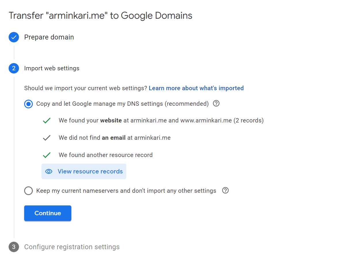 Google Domains Transfer Confirmation Options