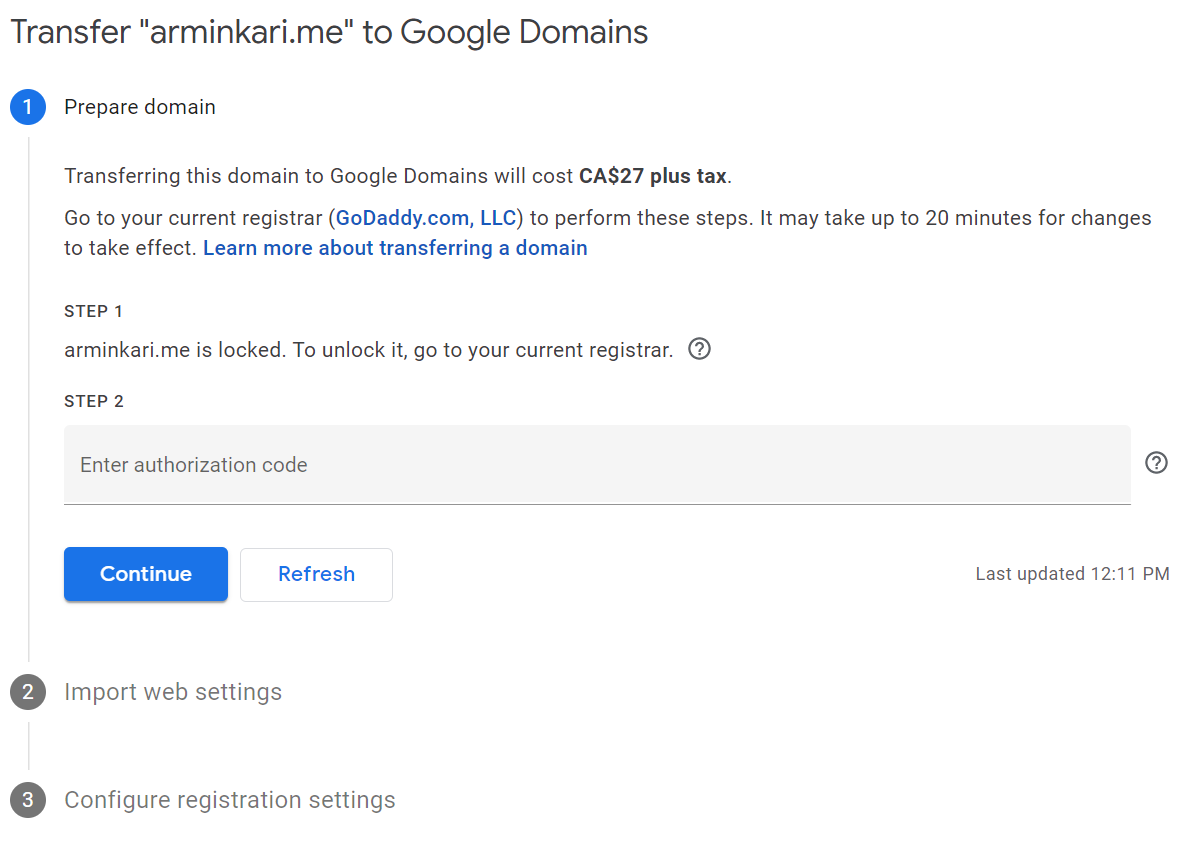 Google Domains Transfer Steps